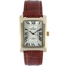 Peugeot Men Vintage Rectangular 14K Gold Plated Brown Leather Strap Watch