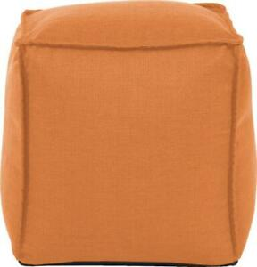 HOWARD ELLIOTT POUF OTTOMAN SQUARE ORANGE POLYESTER POLY REMOVABLE COVER