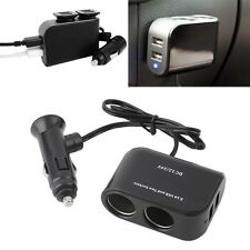 In-car PDA Power Supply 2 USB Ports & 2 Sockets Splitter 12V/24V Car Charger 2F