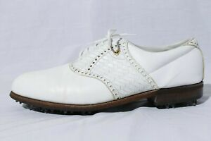 Footjoy Classic Men's White Weaved Leather Saddle Cleats Golf Shoes 10.5 3E