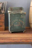 Antique Mailbox wood Dairy box Cherry Grove Milk Farmhouse Green Paint Primitive