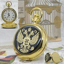 Rare Russian Eagle Gold Brass Men Quartz Pocket Watch 50 MM Chain Gift Box C30