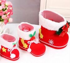 3 Red Mini Christmas Candy Boots Decor Ornaments Holiday Gifts Sack