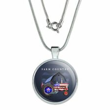 "Farm Tractor Country USA American Flag 1"" Pendant w/ Silver Plated Chain"