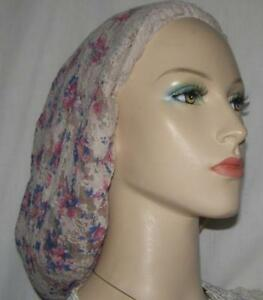 FLORAL SHEER SNOOD Headcovering Women Tichel Head Covering Wrap Chemo Jewish Cap