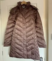 KENNETH COLE FAUX-FUR-TRIM DOWN CHEVRON PUFFER COAT. SIZE: UK SMALL,  DUSTY ROSE