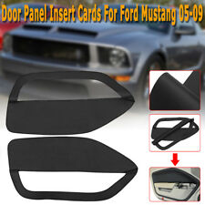 Door Panel Insert Cards Black Synthetic Leather For Ford Mustang 2005 - 2009