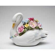 """Music Box """"Swan With Flowers"""" White+Pink+Green+Yellow Porcelain Figurine-Nais"""