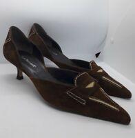 L K Bennett Brown Suede Shoes Size 39.5 EU 6.5 UK Kitten Style Heel All Leather