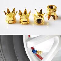 4x Unique Gold Crown Car Truck Tire Air Valve Stem Cover Caps Wheel Rims Hot New