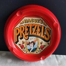 Hagues Pretzels Vintage Tin Red Advertise Ash Tray England Case Ny Bar decor vtg