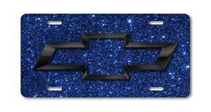 CHEVY ART CHEVROLET black bow tie on blue sparkle license plate aluminum tag