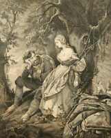 Grinsender Räuber u. an einen Baum gefesselter Jungfrau im Wald, 19.Jh, Kupferst