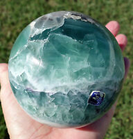 Gem BLUE Fluorite Crystal Sphere Ball Mexico Beautiful Rare Sphere LARGE