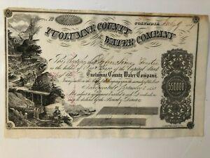 1857 Tuolumne County Water Company Stock Certificate, California