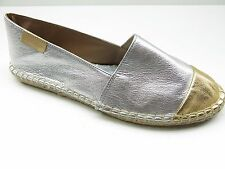 Mint & Rose Portofino Silver Gold Natural Espadrille Slip On Flat 5M 36 NEW $160