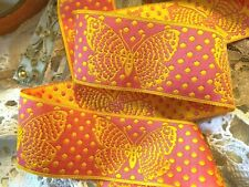 """Polka Dots Butterflies Reversible 1.5"""" Trim Ribbon 1yd Made in France"""