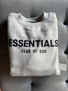 Fear Of God Essentials Heather Grey Crewneck Sweatshirt SS21 Kids Size Large New