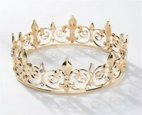 King Queen Imperial Metallic Light Gold or Silver Crown Tiara Hair Head Band