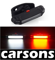 white & red cob USB rechargeable bike light - 2 in 1 warning LED lamp - CARSONS