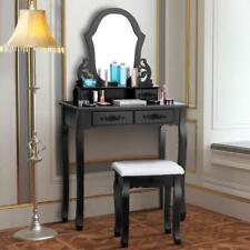 Costway Vanity Makeup Dressing Set Table Jewelry Wooden Stool Mirror  4 Drawer