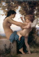 Dream-art Oil painting Bouguereau Young Girl Defending herself against Cupid 36""