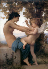 """Dream-art Oil painting Bouguereau Young Girl Defending herself against Cupid 36"""""""
