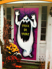 Spooky Ghost-TRICK or TREAT-DOOR COVER MURAL Halloween Party Prop Decoration-NEW