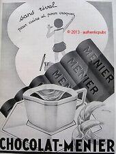 PUBLICITE CHOCOLAT MENIER SANS RIVAL SIGNE ROUMY DE 1932 FRENCH AD PUB RARE