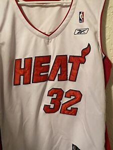 💥💥Reebok NBA Miami Heat Shaquille Shaq O'Neal XXL Sewn Jersey XXLWhite Red 50