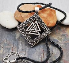 Antique Silver Plt Ornate Valknut Pendant Necklace Ladies Mens Gift Viking Norse