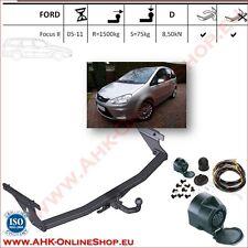 Gancio traino fisso Ford Focus II SW Familiare 2005-2011 + kit elettrico 13-poli