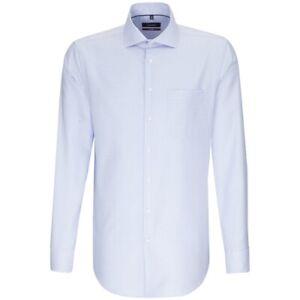 Seidensticker Langarm Hemd Modern blau weiß Struktur Kent Gr. 41 / 116777.14