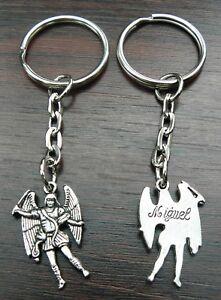 10 PCS x Archangel Michael Miguel Keyring Holy Religious Key Ring Joblot