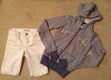 EUC! Girls Abercrombie Outfit White Denim Boyshorts/Striped Jacket Sz 12/S