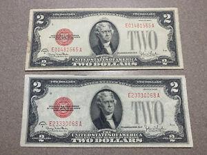 1928 G 2$ Red Seal Dollar Bill, lot of (2)