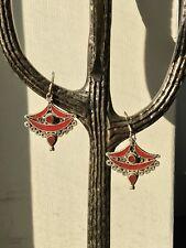 Ethnic Tibetan Nepalese Boho Dangle Earrings - Gemstone Carnelian