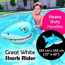 Bestway Great White Shark Rider Heavy Duty Handles Vinyl Swimming Pool Toy