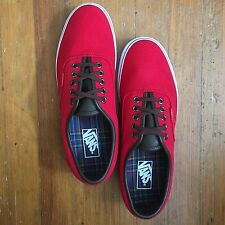 Vans - Red Canvas & Leather Shoes, Vulcanized Rubber Sole - 9.5M