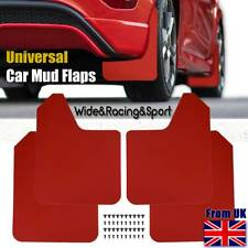 UK Universal Red Mudflaps Mud Flaps Guard Wide Racing Rally Performance W/Clips