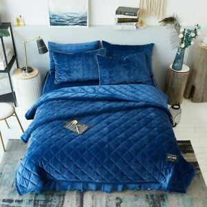 Solid Color Queen King Size Bedding Set Blue Fleece Warm Bed Skirt Duvet Cover
