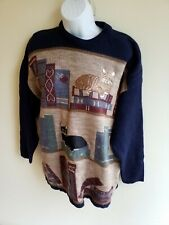 Radish Countrywear style Classic Country cat design Jumper Top Size S/M🐱UK made