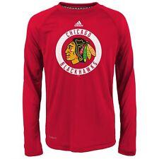 adidas NHL Boys Youth (8-20) Chicago Blackhawks Climalite Long Sleeve Tee, Red