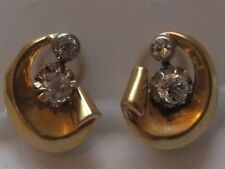 Antique Cushion Cut Diamond Earrings 18ct gold Circa 1930s Clip on Fittings