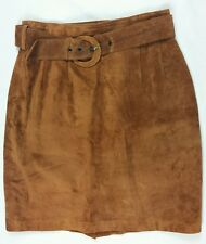 Tannery West Suede Leather Skirt Womens Size 10 Vintage Brown Belted Lined