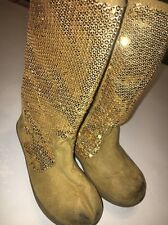 Gymboree girls star of the show gold sequins/faux suede boots w Zipper size 10
