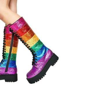 Womens Shiny Sequin Rainbow Multicolour Lace Up Combat Mid calf Boots Shoes