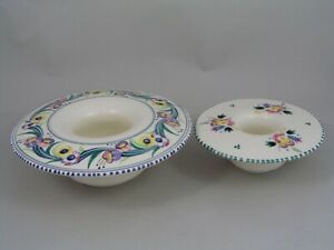 """TWO POOLE POSY/CANDLE HOLDERS, 7 1/4"""" & 5 1/4""""."""