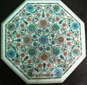 13 Inches Semi Precious Stones Inlaid Coffee Table Top White Marble Side Table