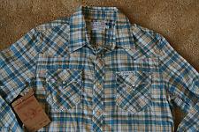 TRUE RELIGION Plaid Flannel Western Shirt M NWT$178 Pearl Snaps! Logo!Teal Ivory